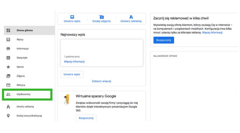nadawania uprawnień w Google Moja Firma punkt 4