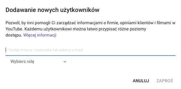 nadawania uprawnień w Google Moja Firma punkt 6